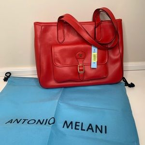 Antonio Melani red leather satchel laptop bag NWT